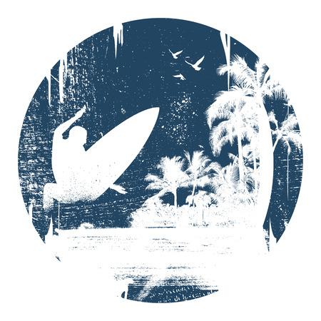 cercle de surf vintage et grunge à surfer Illustration
