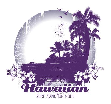 beauty grunge and vintage hawaiian beach scene Illustration