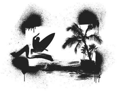 tabla de surf: resaca de la plantilla y de la escena del verano con las palmas y surfista Vectores