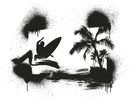 tidal wave: stencil surf and summer scene with palms and surfer