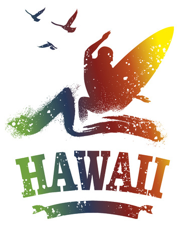 tidal wave: colorful stencil hawaiian surf scene with surfer jumping