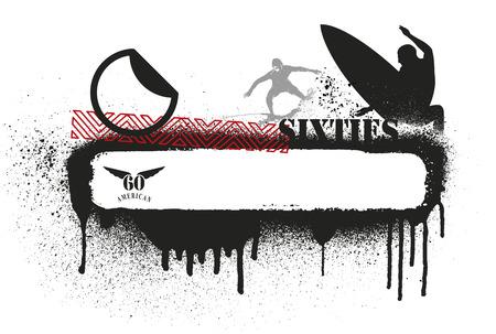 tabla de surf: bandera de surf plantilla con copia espacio