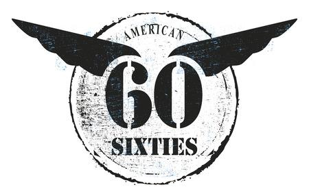 sixties: vintage sixties stencil shield Illustration