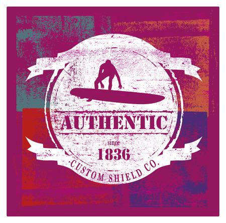 tabla de surf: retro grunge escudo de surf