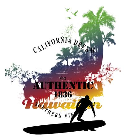 tabla de surf: escena de surf hawaiano del verano con la playa y surfista