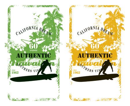 tabla de surf: fondo de surf hawaiano verano con el jinete y la playa