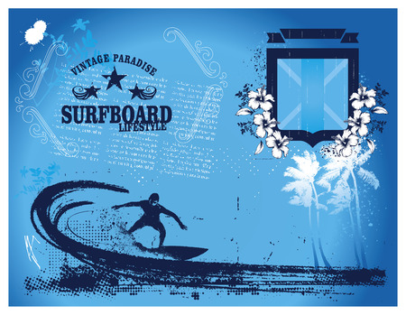 tidal wave: stencil surf summer framework with shield and surfer