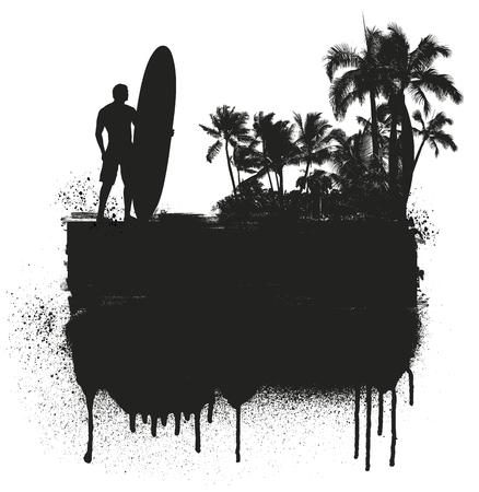tabla de surf: banner de verano como la tinta con las palmas y surfista Vectores