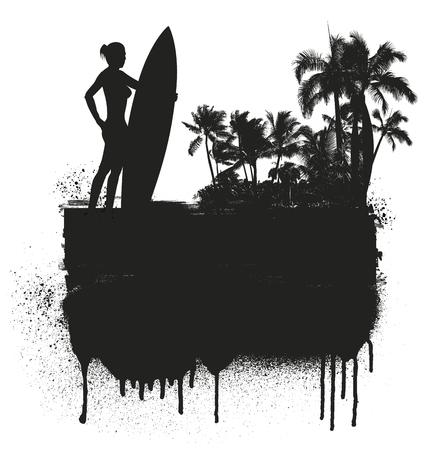 tabla de surf: banner de verano con el jinete chica surf y fondo de la playa