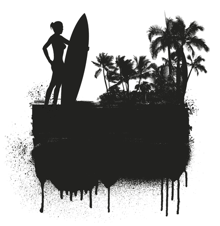 surf girl: summer banner with girl surf rider and beach background