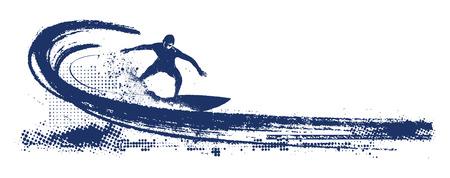 surfen scène met pijplijn golf en surfer Vector Illustratie