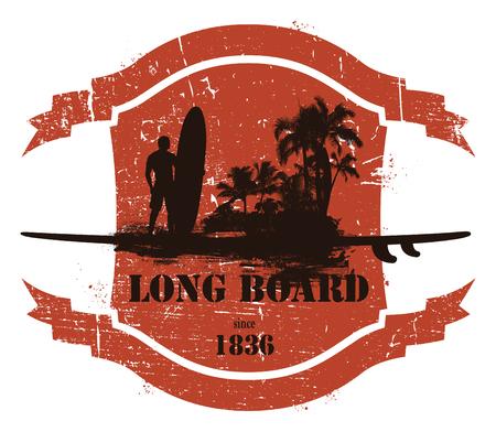 tabla de surf: emblema de verano con jinete tabla larga y la playa