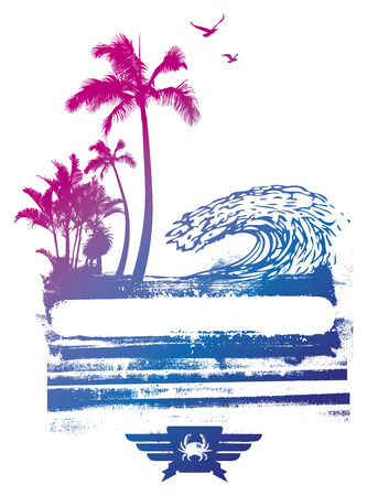 tidal wave: colorful summer scene with stencil banner