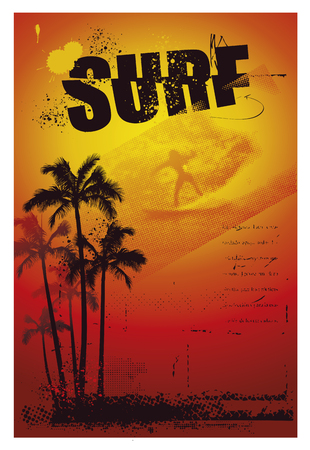 tidal wave: grunge surf summer poster with palms and sunset Illustration