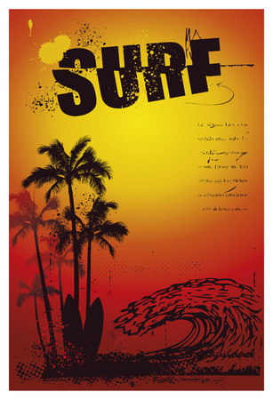 tidal wave: grunge surf poster with big pipeline wave and sunset