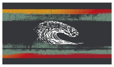 grunge surf background with pipeline wave Vektorové ilustrace