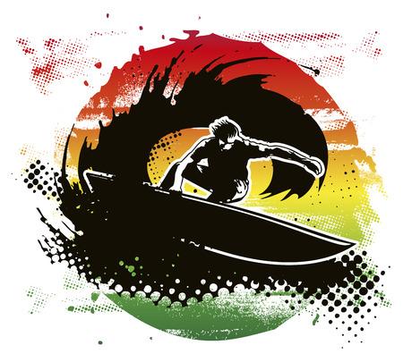 tabla de surf: tinta c�rculo de surf con el jinete Vectores