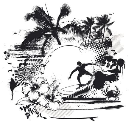 ライダー ハイビスカスとヤシの木のサーフィン シーン 写真素材 - 46145767