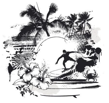 surf scene with rider hibiscus and palms Çizim