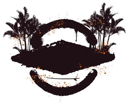 inky: inky stencil surf shield with palms