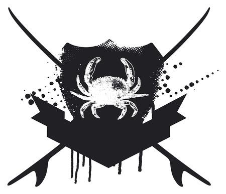 tabla de surf: emblema de la resaca de la plantilla con el cangrejo