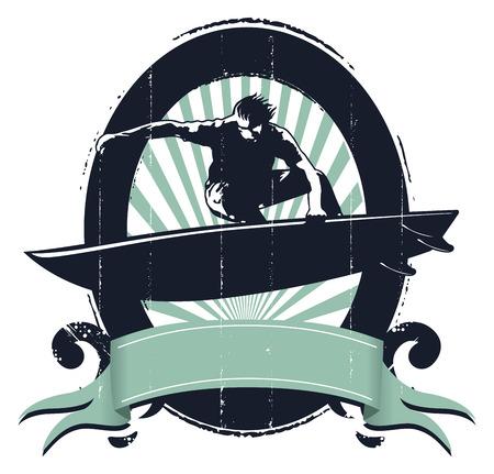 tabla de surf: escudo resaca del vintage con el salto del jinete