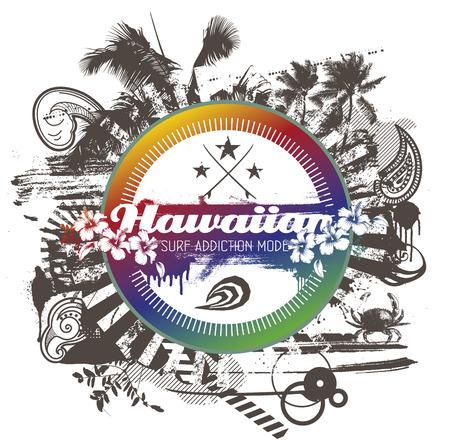 tabla de surf: escudo de surf hawaiano con signos de verano Vectores