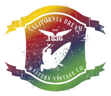 tabla de surf: colorido escudo verano con el salto de surf rider Vectores