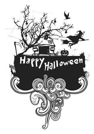 inky happy Halloween frame Illustration