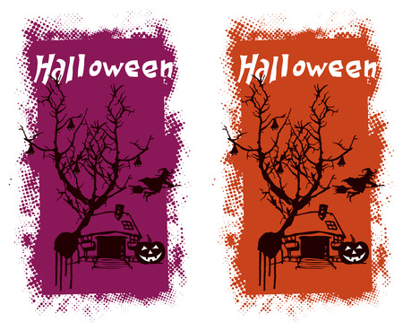 happy halloween: happy halloween background with text and scene