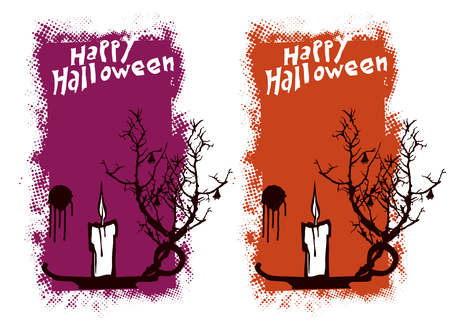 terrify: halloween grunge vertical poster with candle Illustration