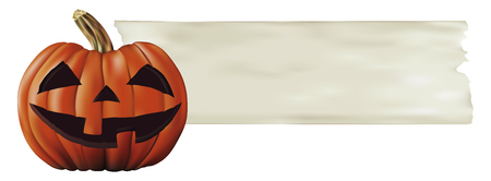 terrify: halloween big pumpkin with paper banner Illustration
