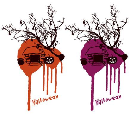 inky: inky halloween scene house and pumpkin