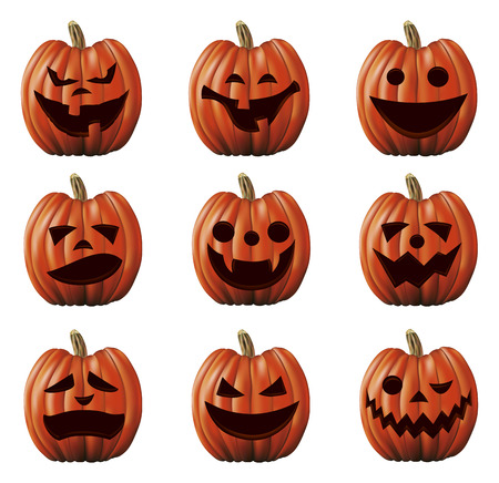 terrify: nine terrify halloween big pumpkins with gestures Illustration
