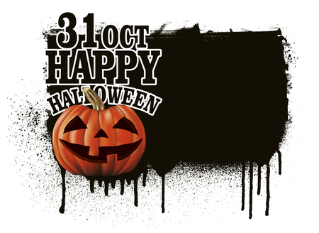 terrify: stencil happy halloween banner with pumpkin