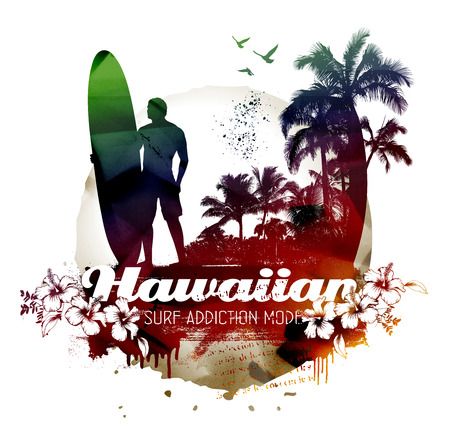 tabla de surf: escena de surf hawaiano retro con surfista