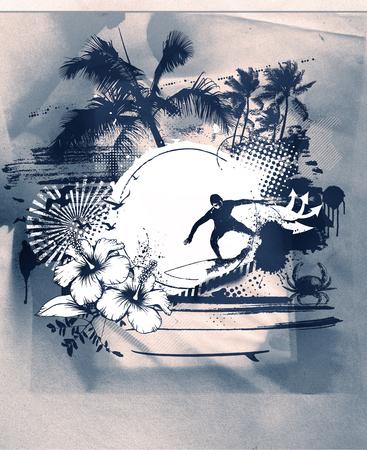 tabla de surf: escena de la resaca del grunge con la playa y surfista