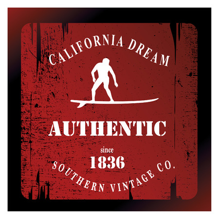 tabla de surf: california escudo rojo con resaca surfer Vectores