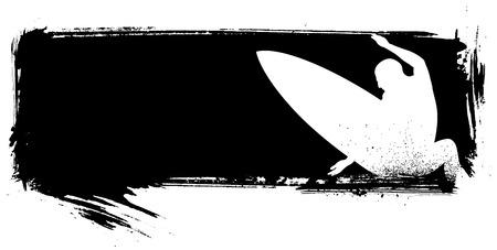 tabla de surf: bandera de surf de tinta, con surfista haciendo un gran salto