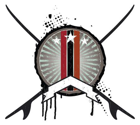 tabla de surf: Blindaje de la resaca del grunge con tablas y la bandera