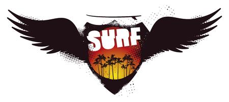tabla de surf: Blindaje de la resaca del grunge con la puesta del sol y las alas