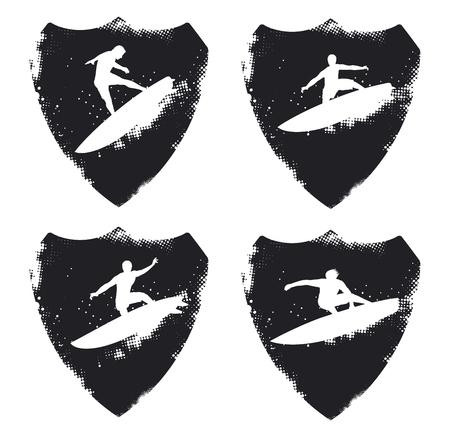 tabla de surf: resaca del grunge escudos con los jinetes