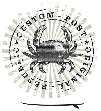 tabla de surf: sello de la resaca del grunge con el cangrejo y la tabla