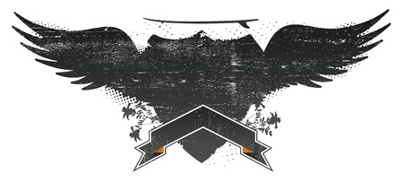 water stained: grunge surf shield with wings and table