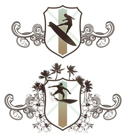 tabla de surf: escudos de grunge de surf con el esp�ritu de la vendimia Vectores