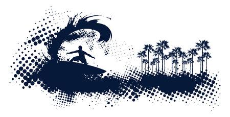 tabla de surf: Ondas de fractura surfista grunge con las palmas