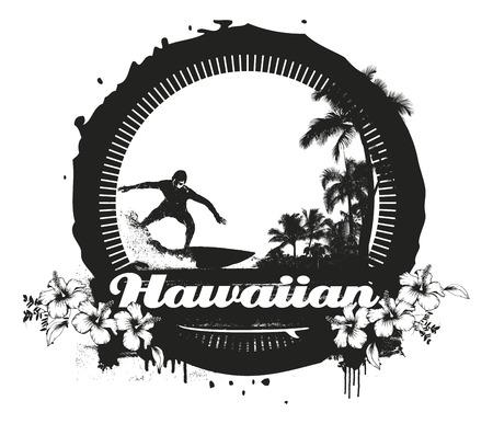 tabla de surf: grunge escena de verano de la vendimia con el jinete Vectores