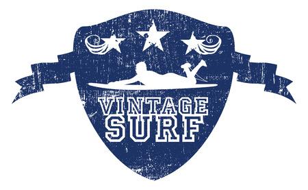 funny surfer: grunge vintage surf blue shield Illustration
