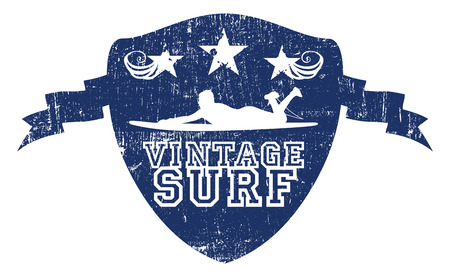 tabla de surf: Surf �poca grunge escudo azul