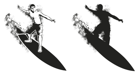 Grunge Surfer Silhouette